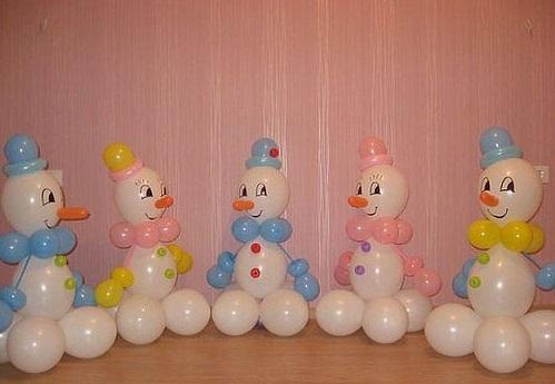 Снеговик из воздушных шаров своими руками пошаговая инструкция